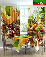 Фотошторы и скатерть на кухню фруктовый стол