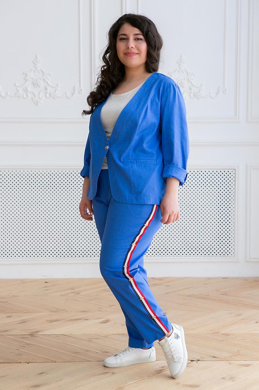 ffe07499be2 Льняной женский костюм с брюками для полных Корен синий (60-62) - DS