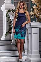 Короткое Коттоновое Платье без Рукавов Синее с Цветочным Принтом М-2XL, фото 1