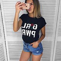 Женская футболка из трикотажа с надписями 65FU125