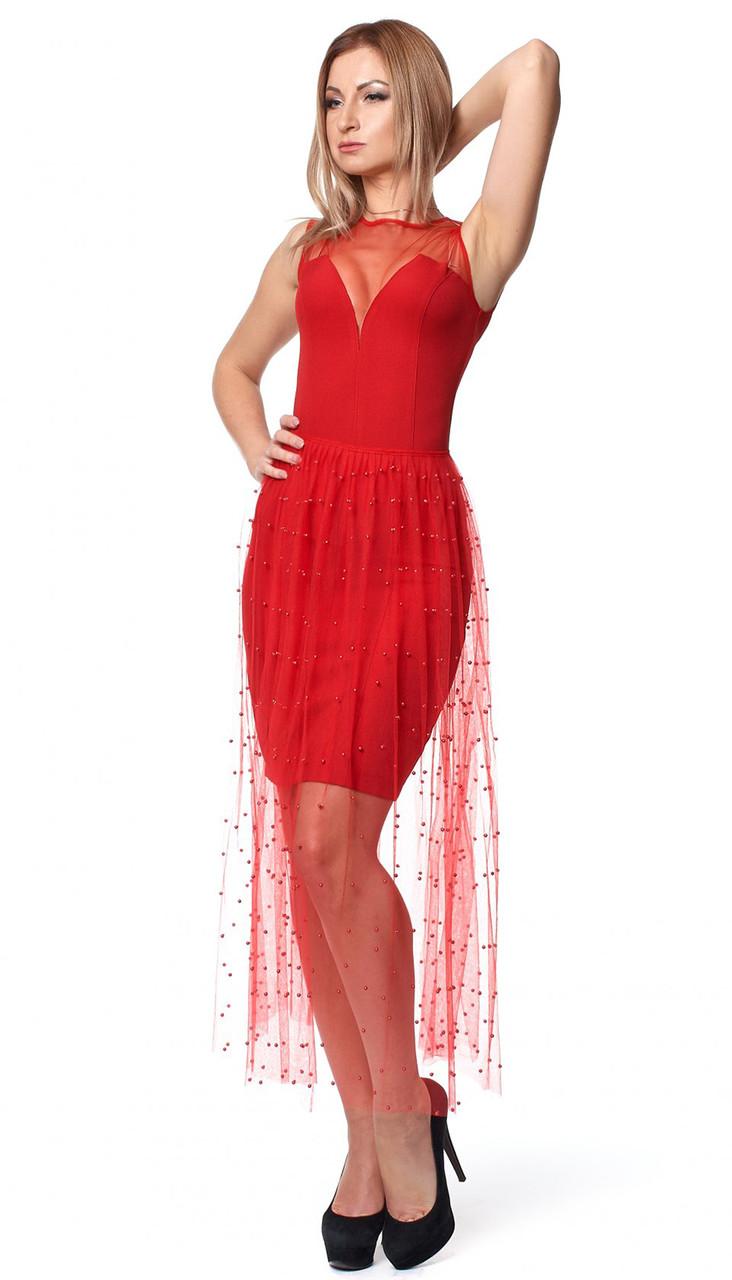 b317e2af89ca736 Вечернее платье красного цвета со съемной юбкой из сетки. Модель 1072.  Размеры 42-