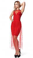Вечернее платье красного цвета со съемной юбкой из сетки. Модель 1072. Размеры 42-48