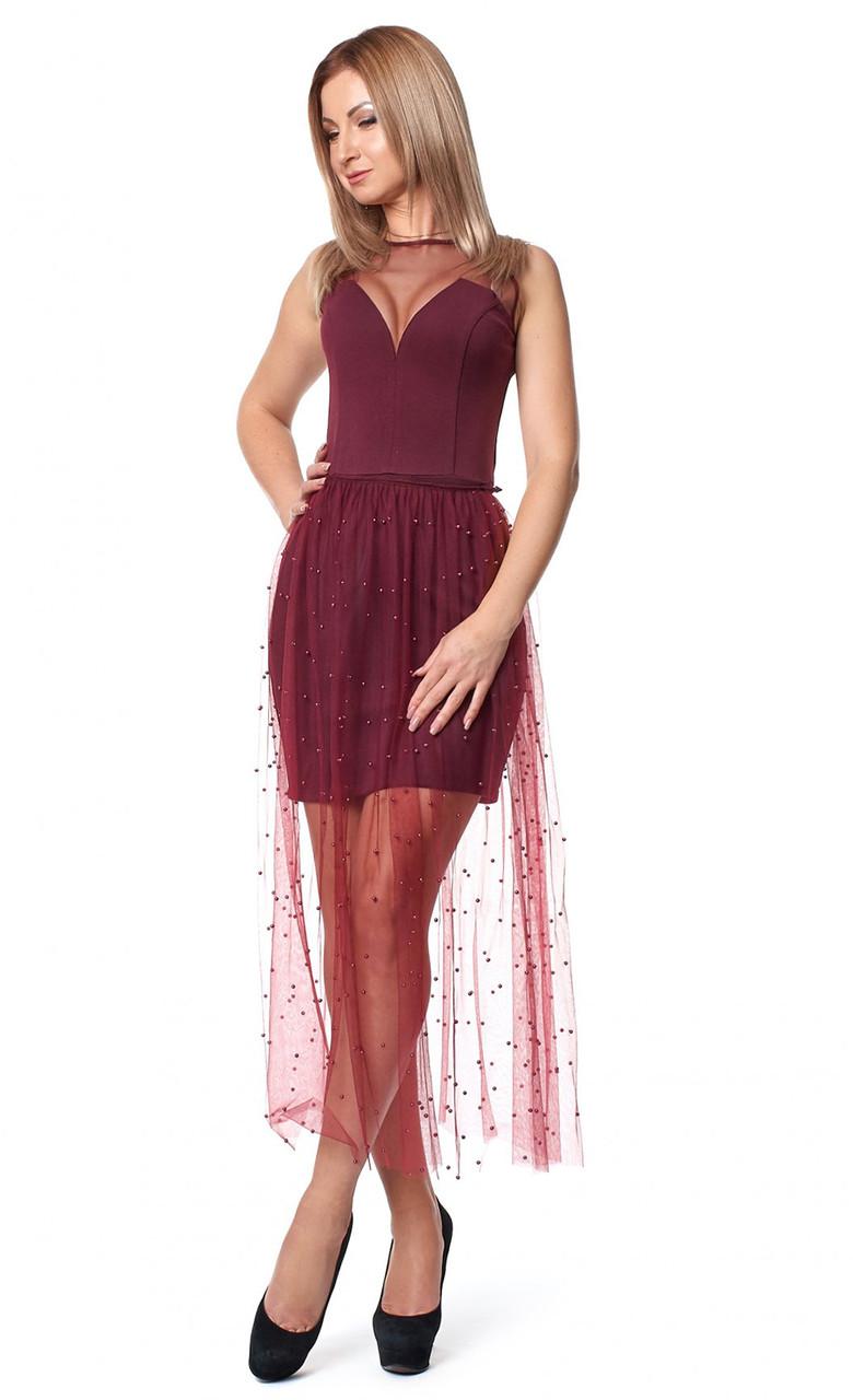 01cdd5e2aa2b59e Вечернее платье цвета марсала со съемной юбкой из сетки. Модель 1072. Размеры  42-