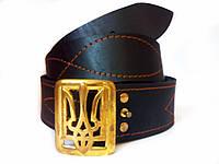 Ремень кожаный с Генеральской пряжкой латунной Тризуб, фото 1