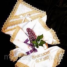 Крыжма на крестины Амфора с именем и датой
