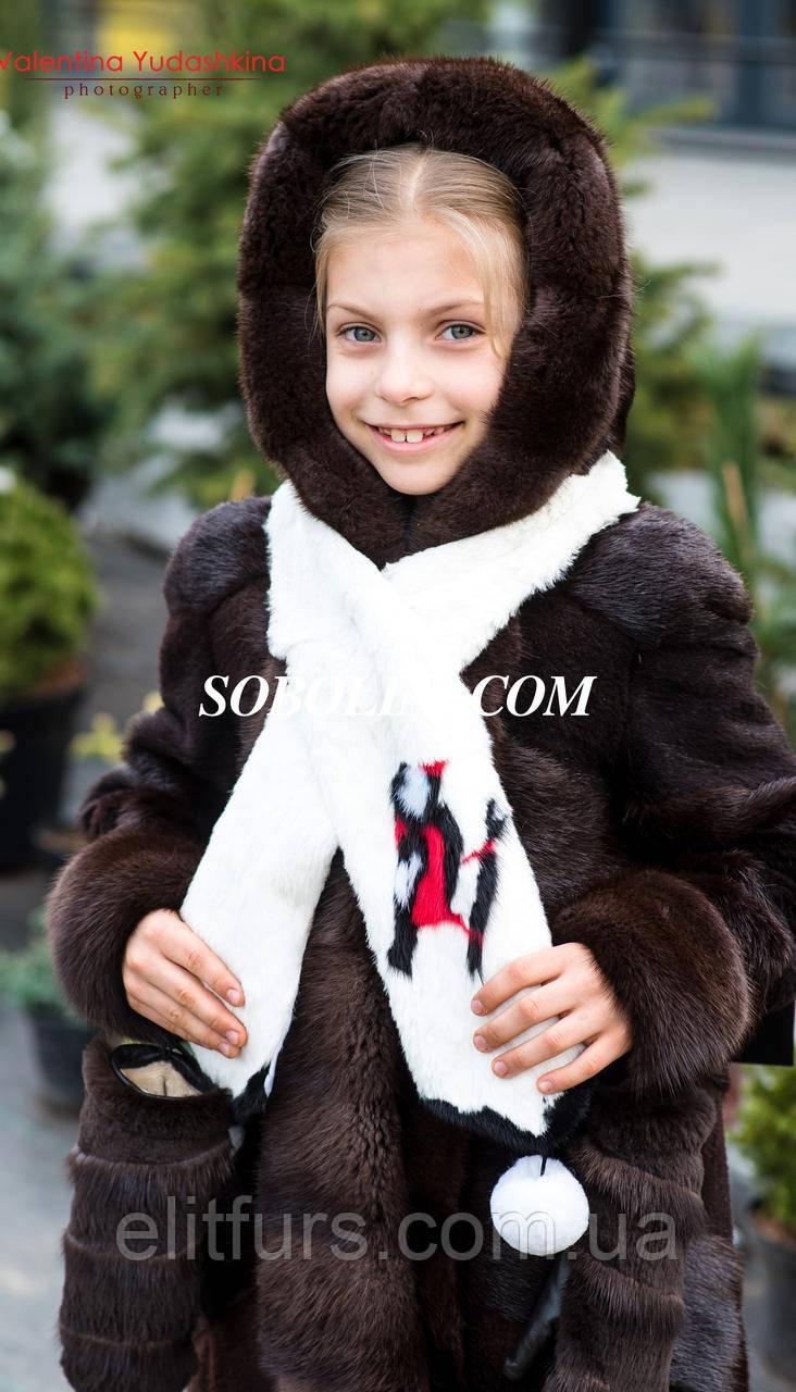 Детская шуба из нутрии с капюшоном