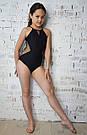 Купальник для танцев и гимнастики из бифлекса и сетки в точку черный, фото 2