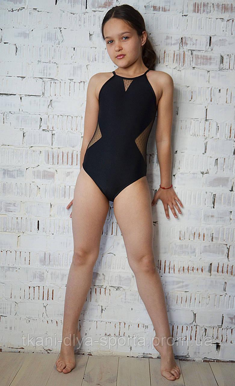 Купальник для танцев и гимнастики из бифлекса и сетки в точку черный