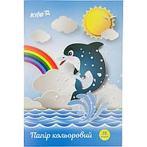 Цветная бумага односторонняя А4 Kite K17-1250 (18 листов, 9 цветов, скоба), фото 2