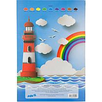 Цветная бумага односторонняя А4 Kite K17-1250 (18 листов, 9 цветов, скоба), фото 3