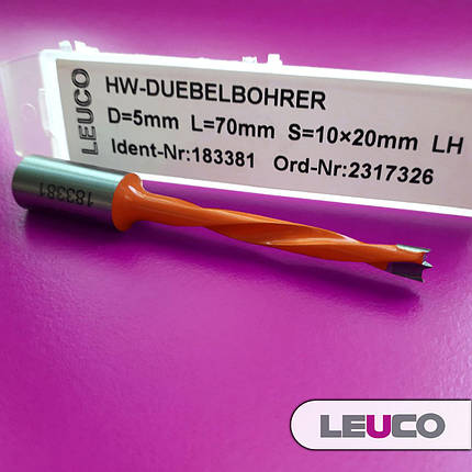 Глухое сверло Leuco EcoLine 5x70x39x10 без направляющей канавки (левое), фото 2