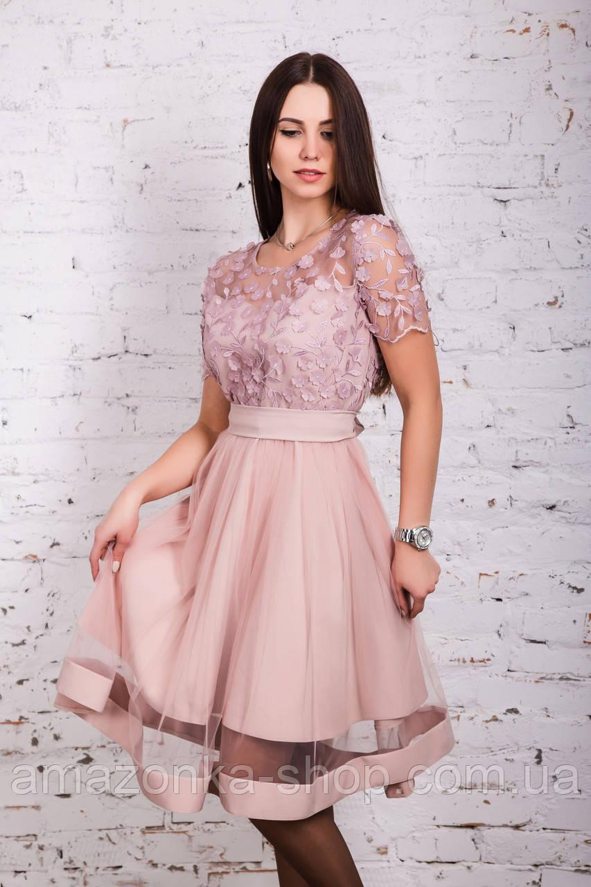 Нежное женское платье с вышивкой 2018 - Код пл-250