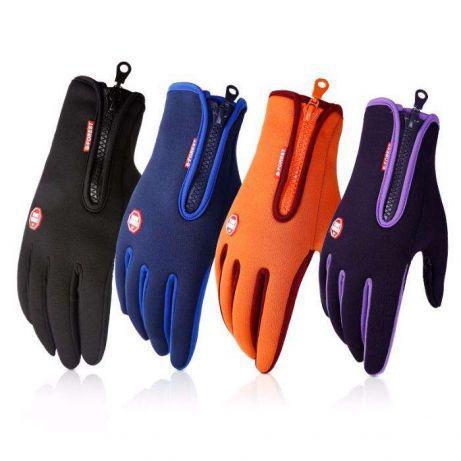 Перчатки непродуваемые вело лыжные зимние флисовые Windstopper сенсор