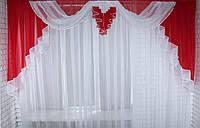 Ламбрекен №52 на карниз 3 метра Красный с белым