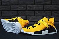 Кроссовки мужские Adidas x Pharrell Williams Human Race NMD код товара KD-11536. Желто-черные с белым