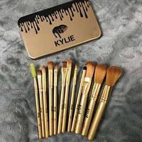 Набор кистей для макияжа KYLIE золото, 12 штук ( кисти кайли )