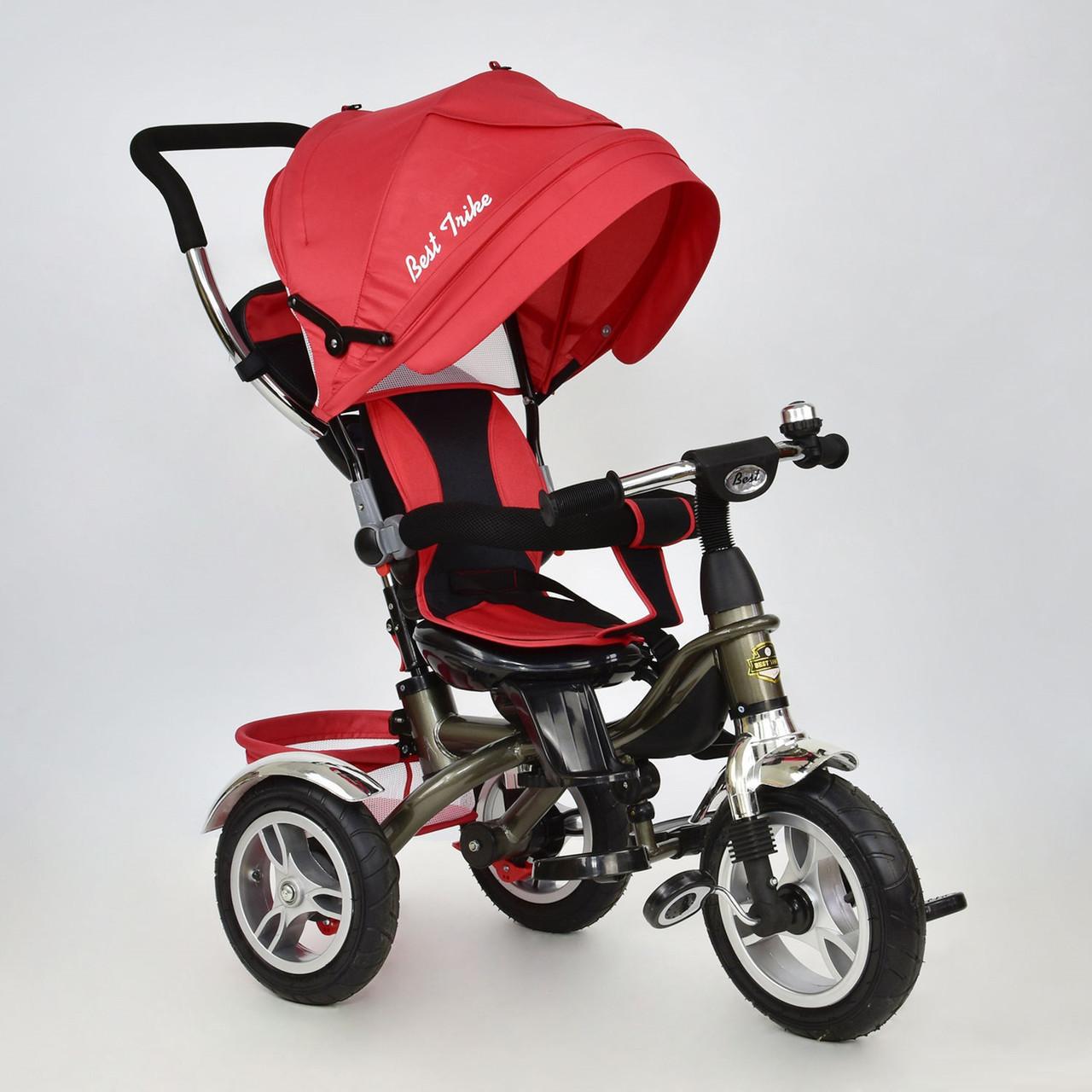 Дитячий триколісний велосипед 5688 Best Trike надувні колеса, поворот сидіння, червоний