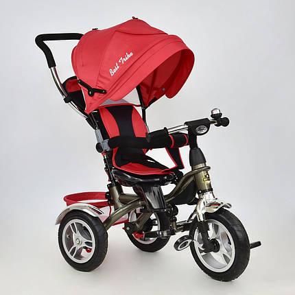 Дитячий триколісний велосипед 5688 Best Trike надувні колеса, поворот сидіння, червоний, фото 2