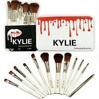 Профессиональный набор кистей для макияжа KYLIE белый, 12 штук