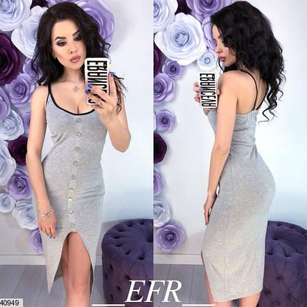 Легкое платье ниже колен разрез впереди без рукав серое, фото 2