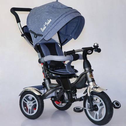 Дитячий триколісний велосипед 5688 Best Trike надувні колеса, поворот сидіння, джинс, фото 2