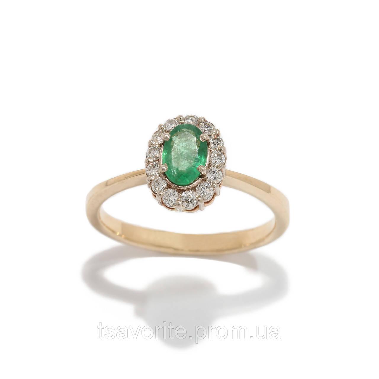 Золотое кольцо с изумрудом и бриллиантами 2231621