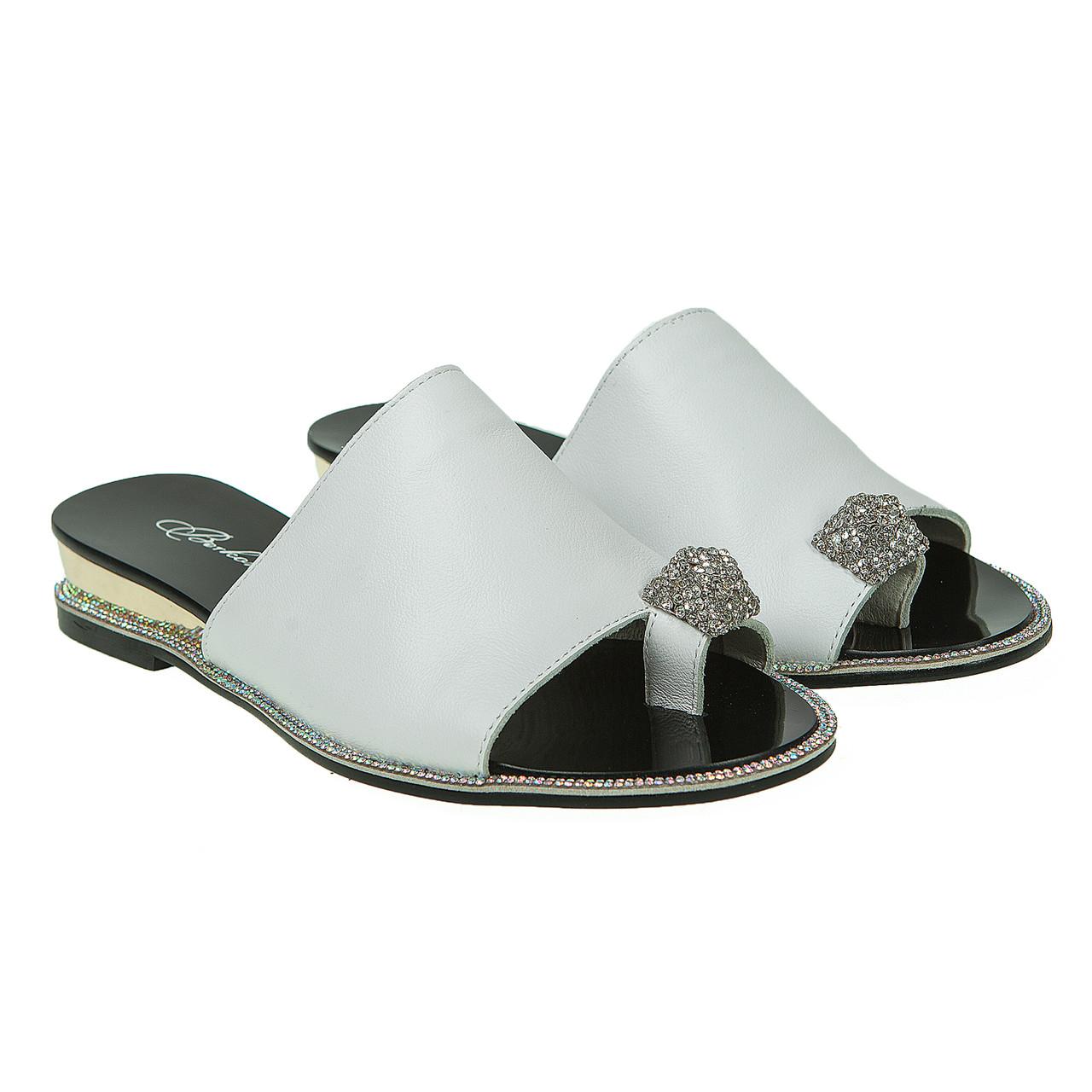 5a308fb70 Купить Шлёпанцы женские Berkonty (модные, белые, кожаные, удобные ...