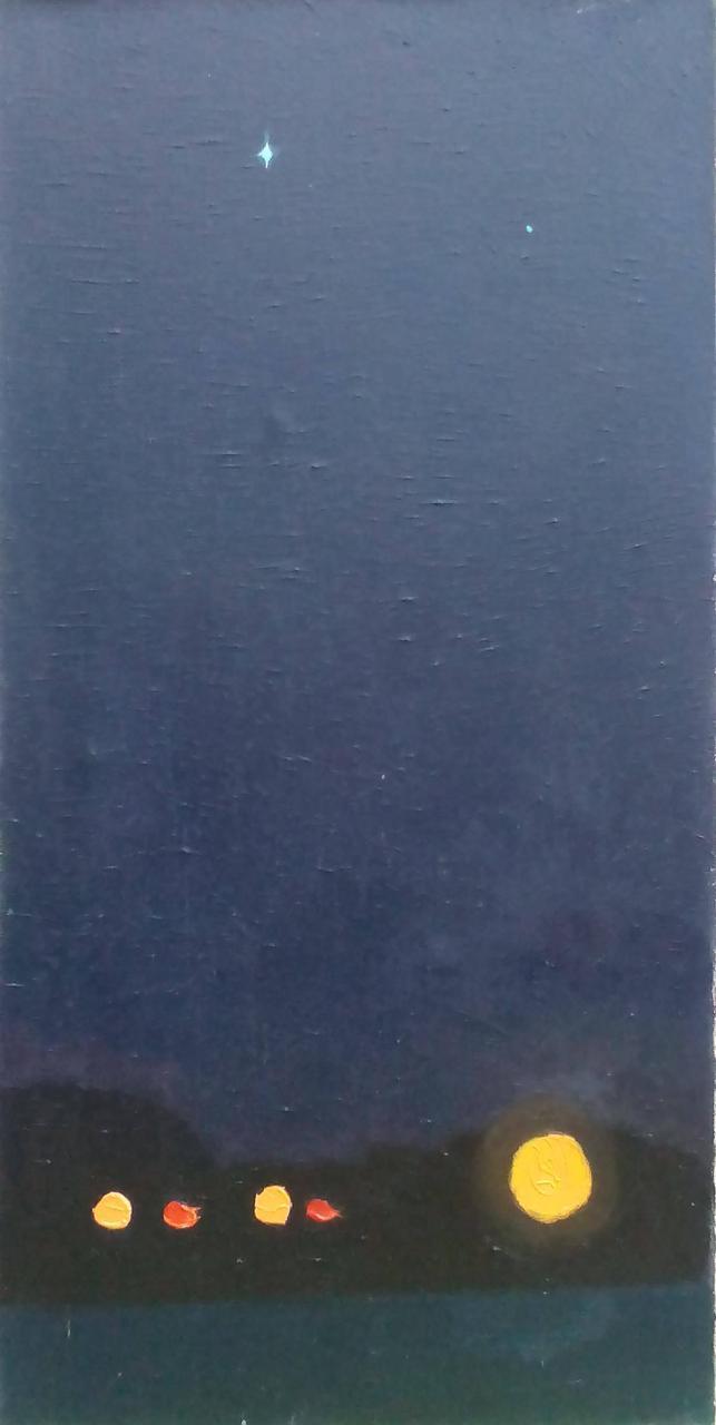 """Картина """"Зірки та ліхтарі"""" 60х30 см (масло)"""
