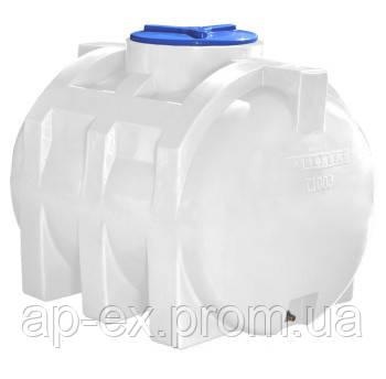 Емкость бак бочка для воды на 500 л горизонтальная однослойная   (110х81х90см) пластиковая белая