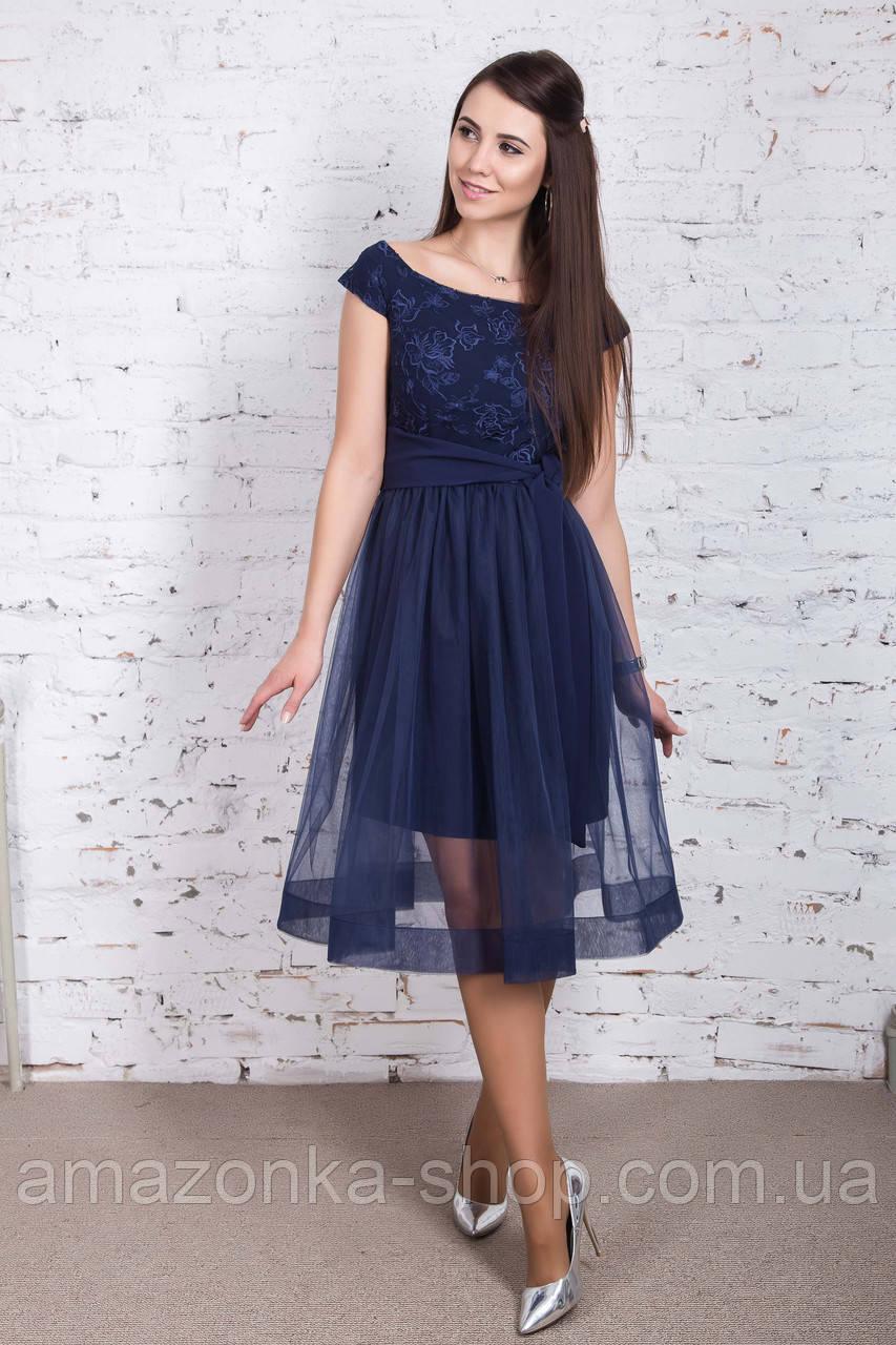 Нарядное платье для девушек с полупрозрачной юбкой 2018 - Арт пл-237