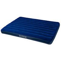 Велюровый надувной матрац Intex 68759 средний, в коробке (размеры 152-203-22 см) ТМ Royaltoys Синий