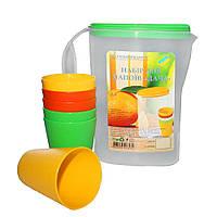 Набор для напитков Дача (комплект: кувшин с крышкой пластиковый 2л +  6шт.стаканов пластиковых 0,3л)