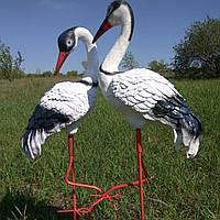 Садовая фигура Журавлик и Журавушка на металлических лапах