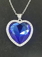 """Кулоны """"Сердца океана"""" оптом. Кулон синее сердце в стразах с цепочкой под серебро."""