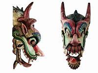 Шедевральная этническая маска Дракон Раджа 70 см широкая узкая с черным красным синим гребнем Код: КГ4667