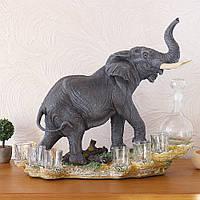 Штоф слон ликеро-водочный набор 44 см Гранд Презент ШП401 цв