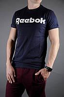 Стильная синяя мужская футболка рибок (Reebok) реплика
