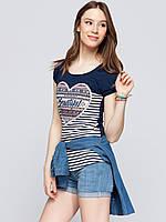 Синяя женская футболка LC Waikiki / ЛС Вайкики в полоску с рисунком и надписью Beautyful, фото 1