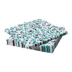 Набор бумажных салфеток IKEA TACKSAMHET 30 шт 33x33 см разноцветные с узором 603.820.96