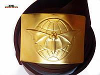 Ремень солдатский кожаный с пряжкой (бляха) латунной летучая мышь, фото 1