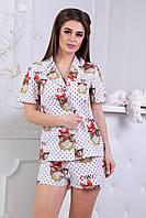 Женская пижама шортиками с совами, фото 1