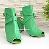 Женские зеленые кожаные босоножки на высоком устойчивом каблуке, фото 2