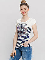 Белая женская футболка LC Waikiki / ЛС Вайкики в полоску с рисунком и надписью Perfect