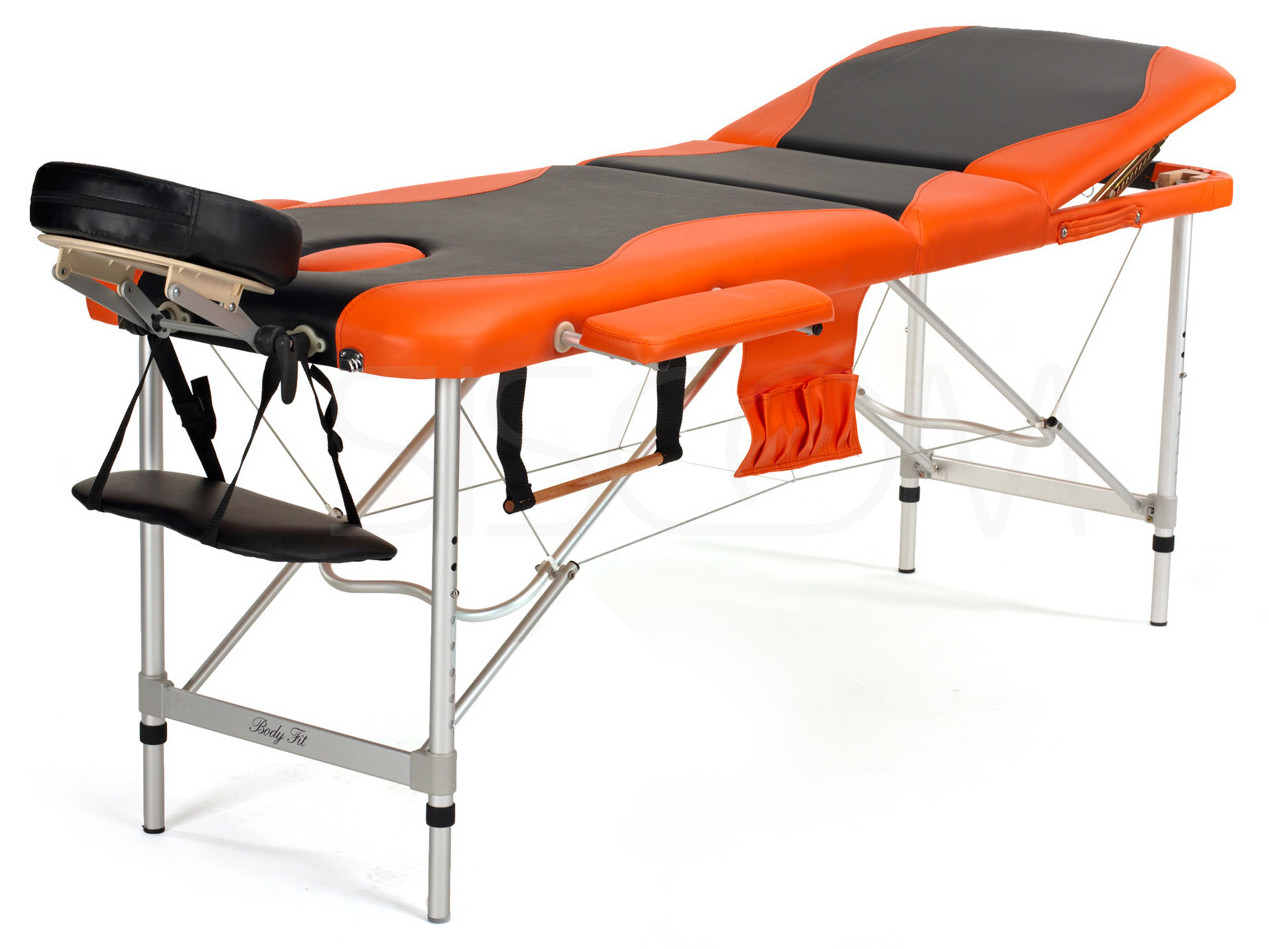 Массажный стол алюминиевый 3-х сегментный BodyFit (черно-оранжевый)