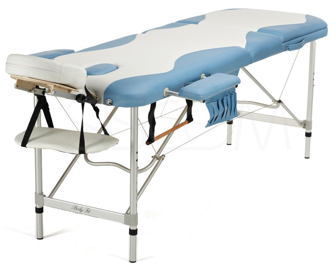 Массажный стол алюминиевый 3-х сегментный BodyFit (бело-фисташковый)