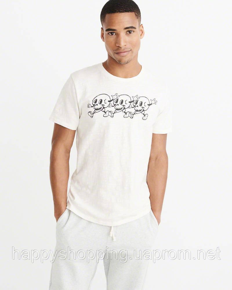 Мужская белая футболка с принтом Abercrombie & Fitch