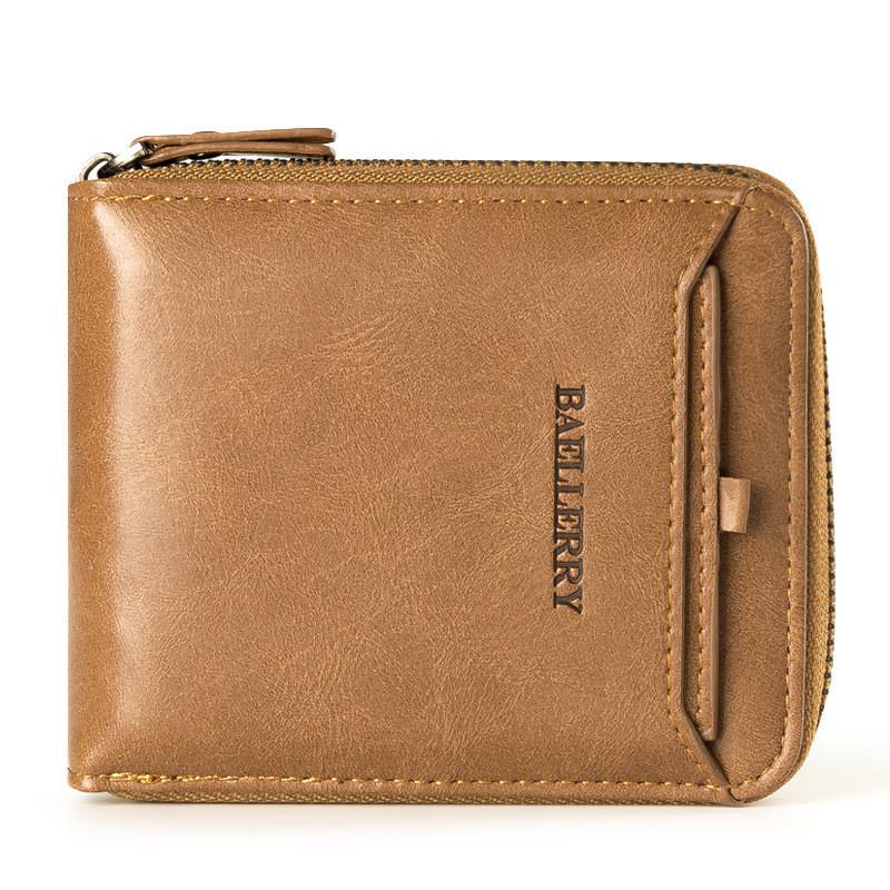 Мужской кошелек BAELLERRY Casual Mini кожаный портмоне на молнии Short Кофейный (SUN0571)