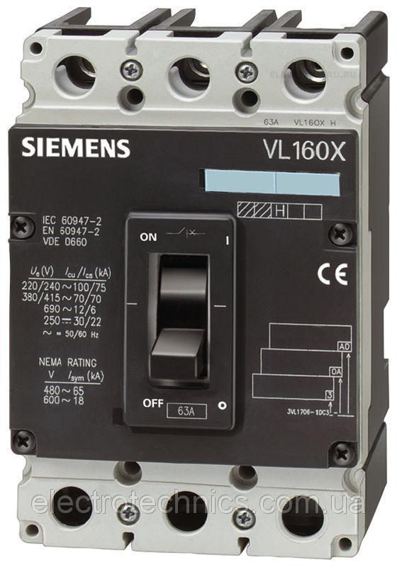Автоматический выключатель Siemens Sentron VL160X N, 3VL1708-1DA33-0AB1