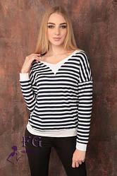 Молодежная женская кофта тельняшка полосатая с белыми манжетами темно-синяя