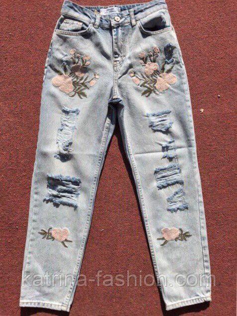 Женские модные рваные джинсы с вышивкой